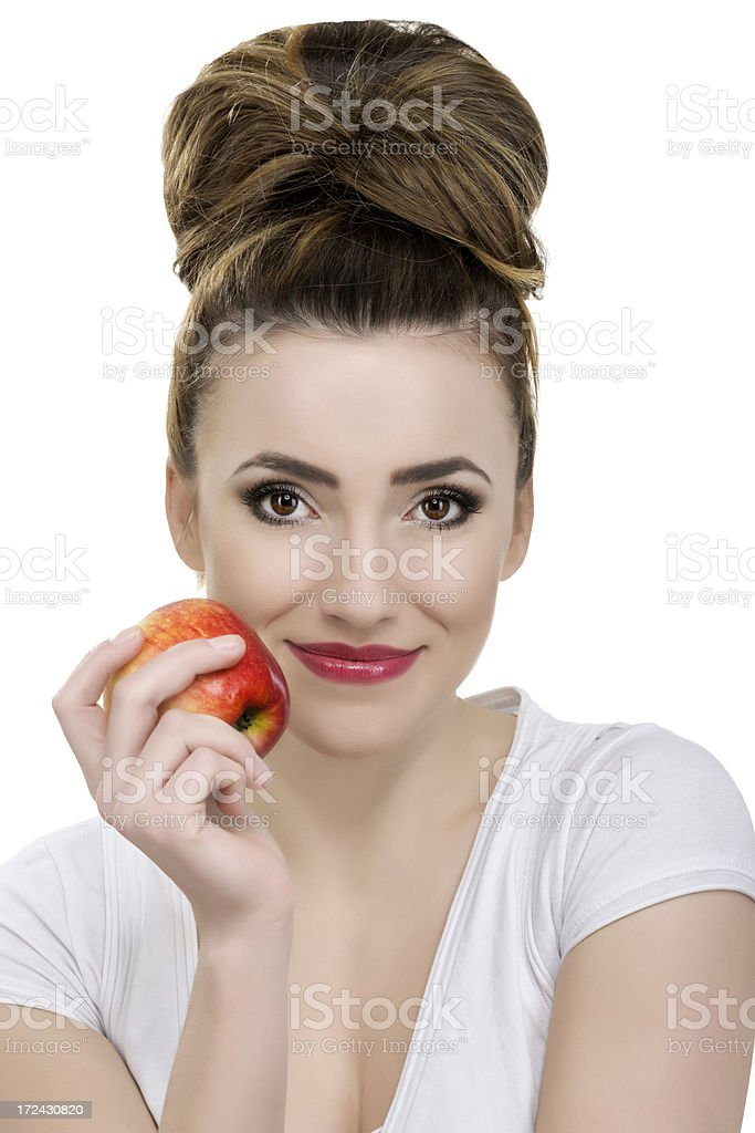 woman holding apple royalty-free stock photo