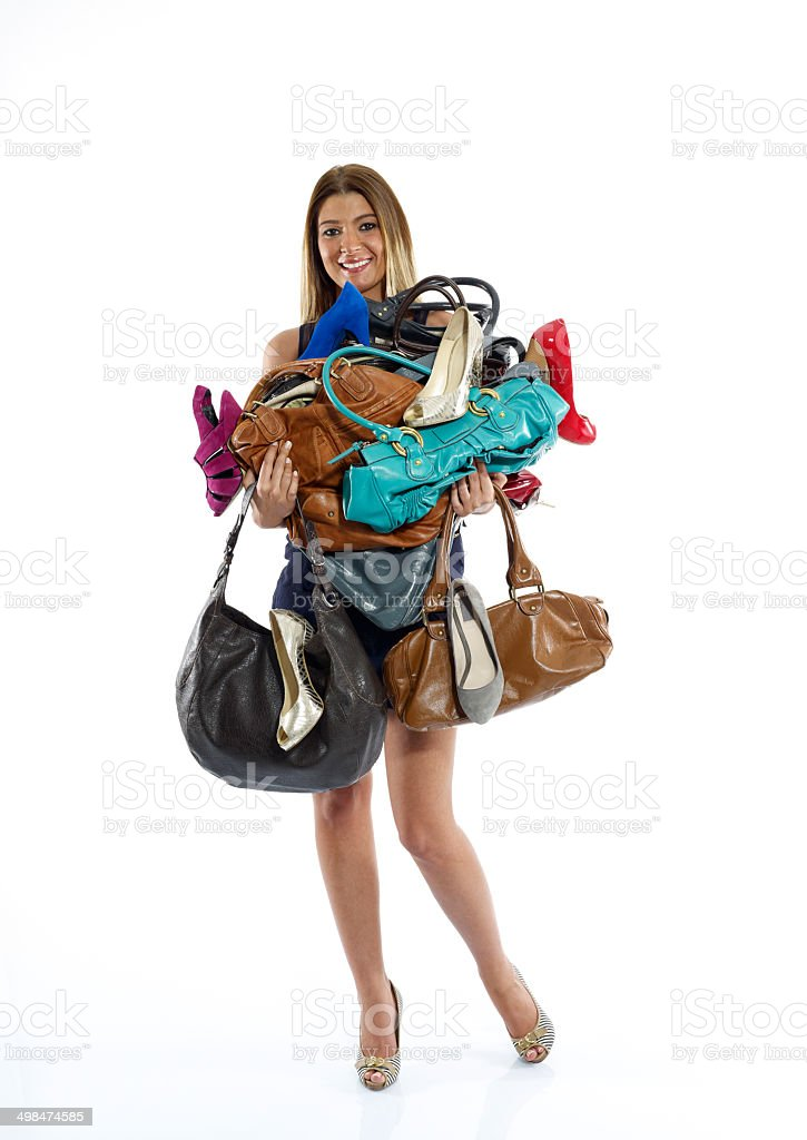 Woman Holding Bags stock photo