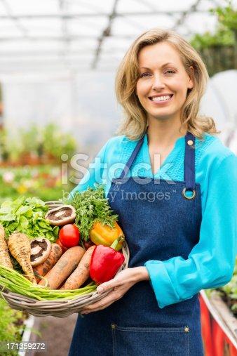 istock Woman Holding Basket Of Fresh Vegetables 171359272