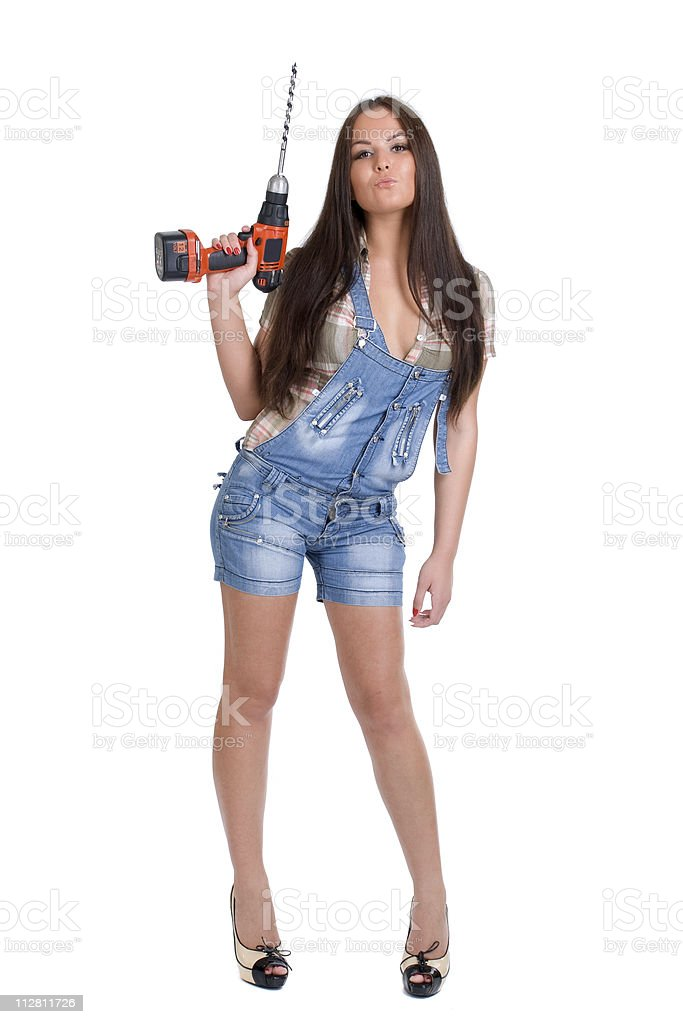 Woman holding battery drill royalty-free stock photo