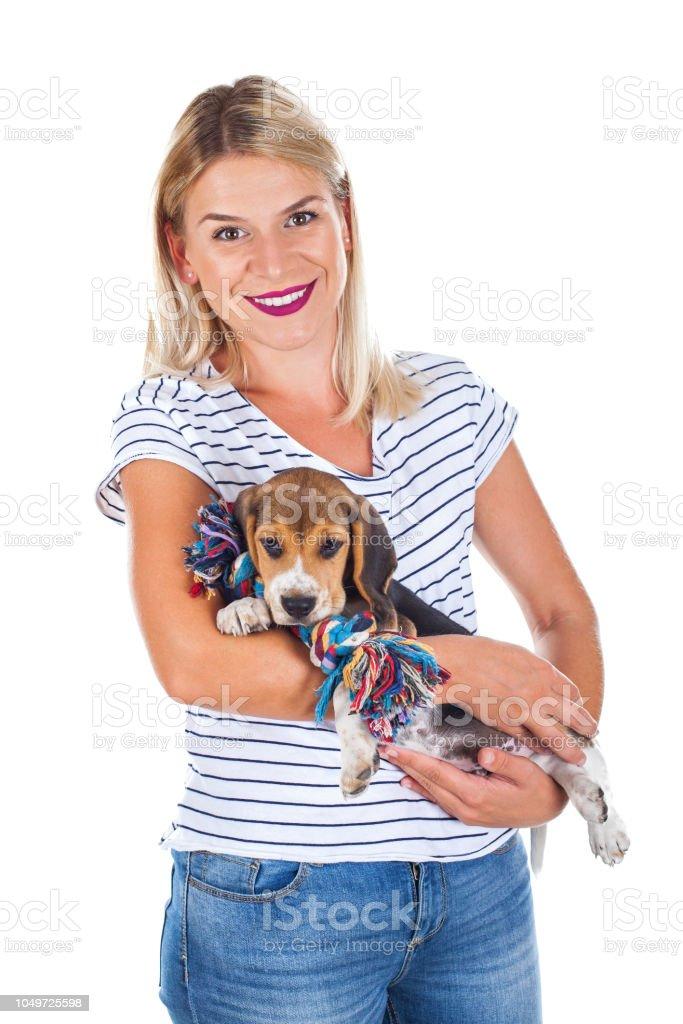 Frau mit Beagle-baby – Foto
