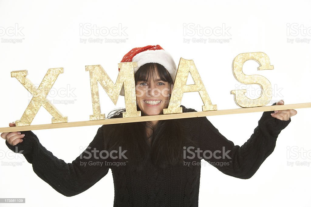 Woman holding big xmas letters stock photo