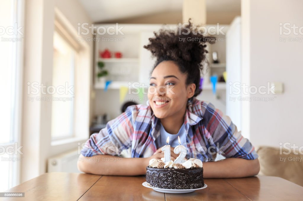 Woman Holding Birthday Cake With Candles Stock Photo More Pictures