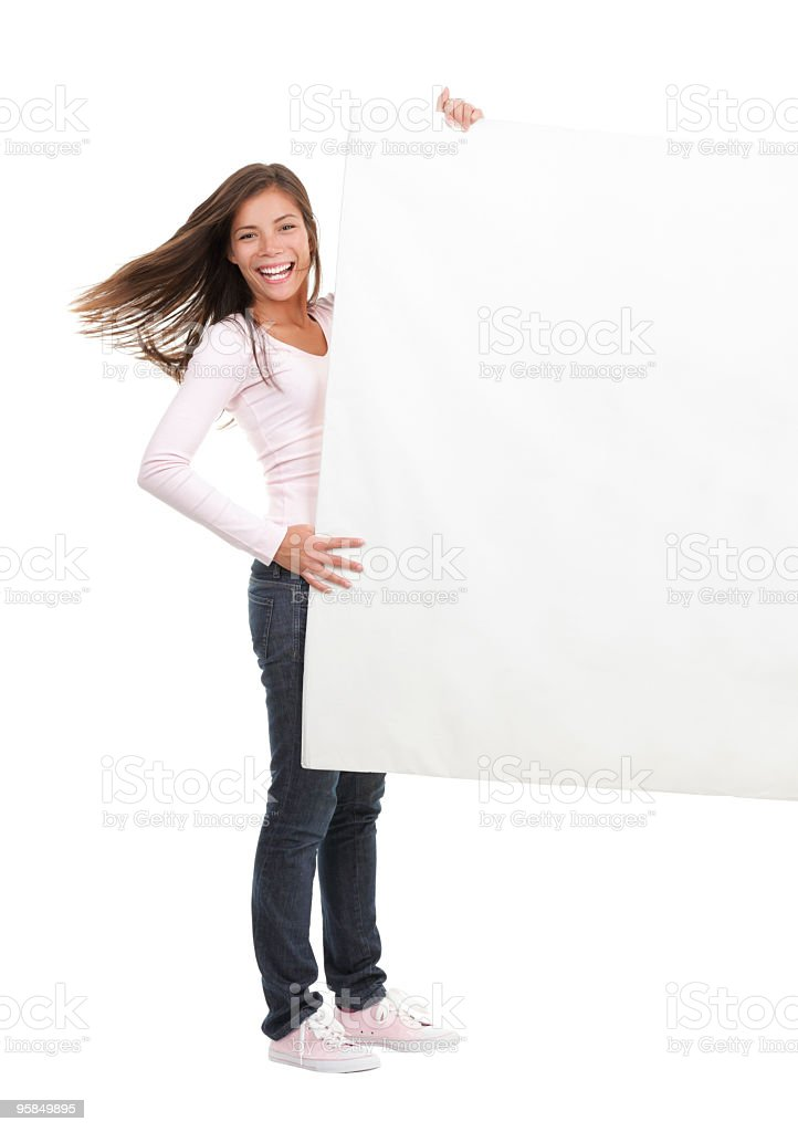 Woman holding blank billboard sign royalty-free stock photo