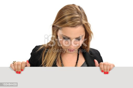 157609352 istock photo Woman holding blank sign 153484435