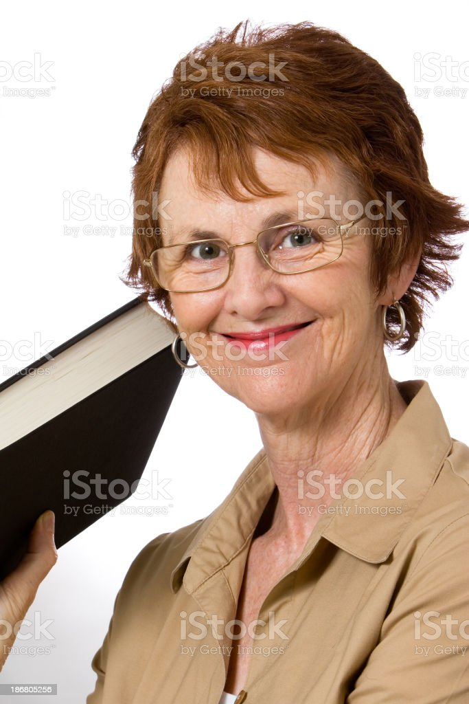 Woman holding book royalty-free stock photo
