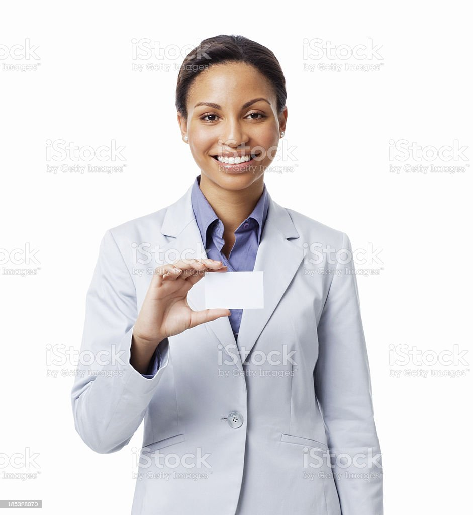 Woman Holding Business Card - Isolated stock photo