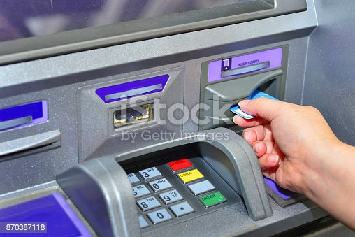 istock Woman holding card ,using ATM 870387118