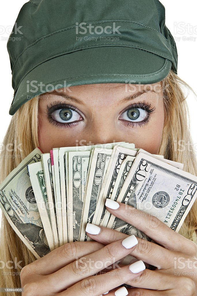 Woman holding cash royalty-free stock photo