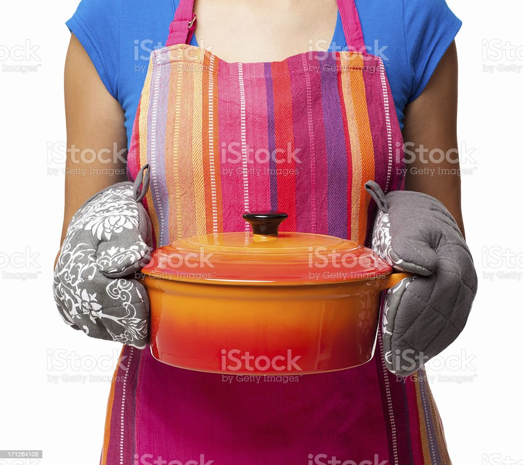 Woman Holding Casserole Dish - Isolated stock photo