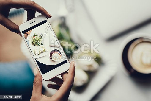 Cropped photo of ladies hands holding cellular and making photo of her organic nutrition lunch on blurred bakground
