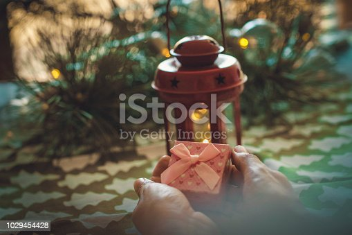 istock woman holding Christmas present 1029454428