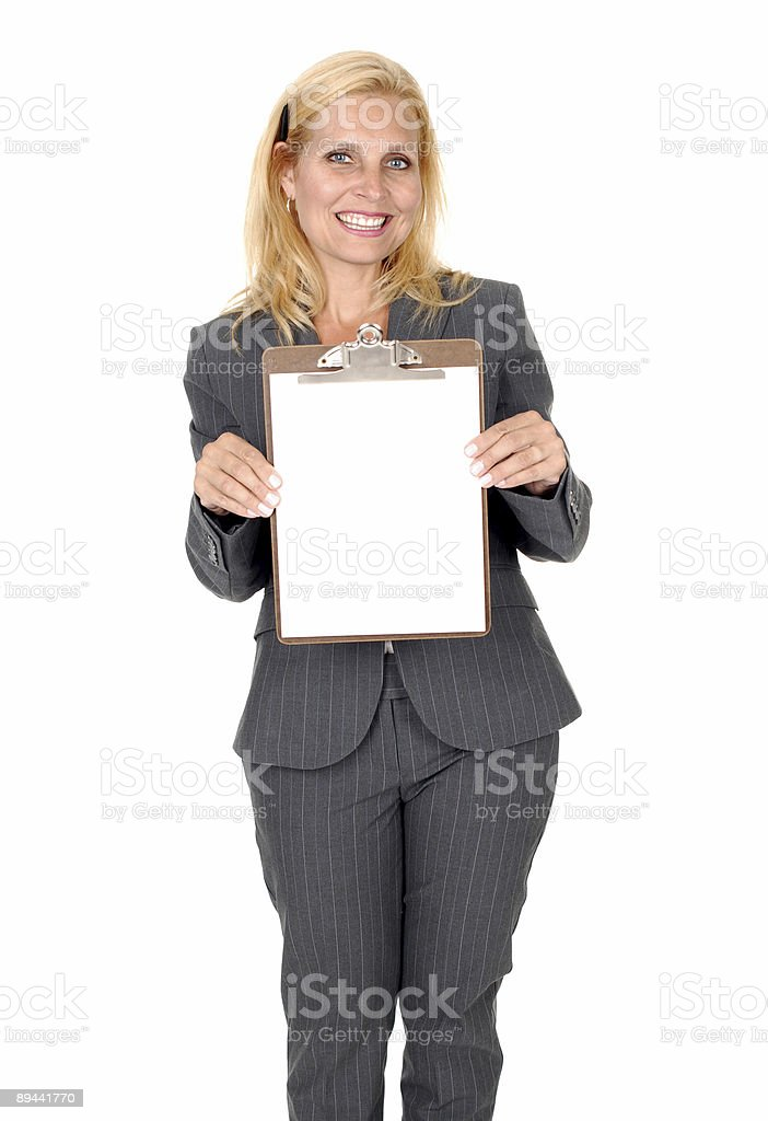 Woman holding clipboard royalty-free stock photo