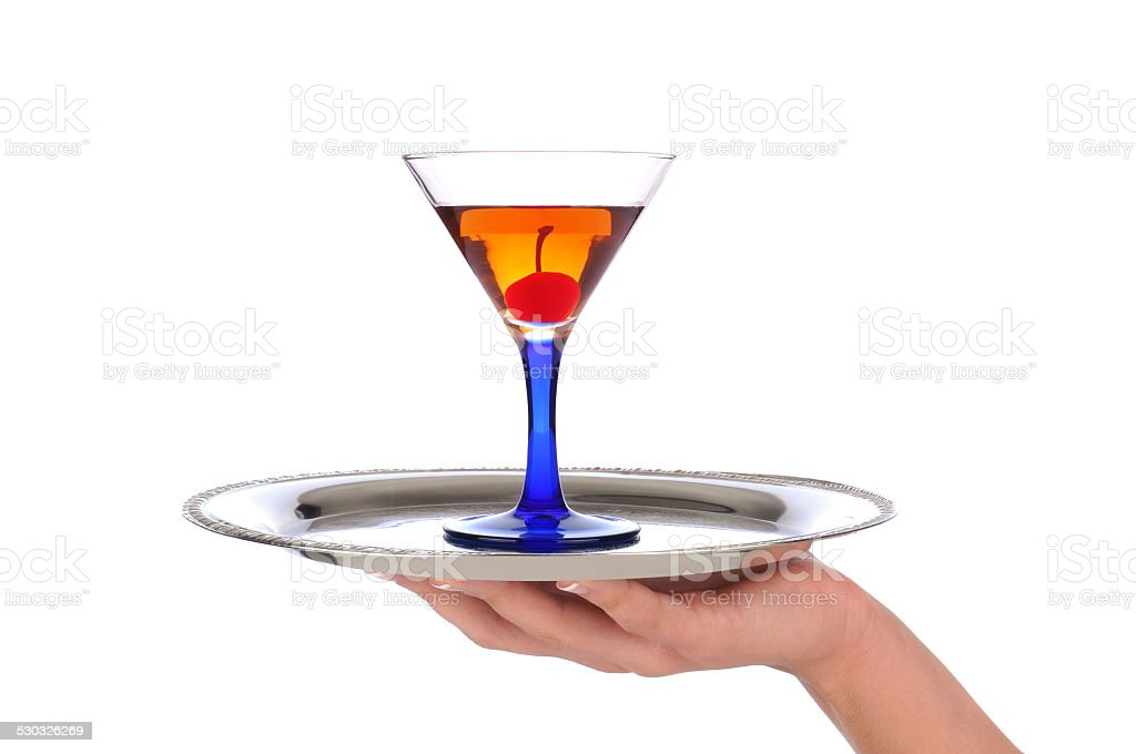 Woman holding Cocktail on Tray stock photo
