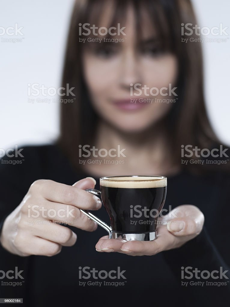 woman holding coffee expresso cup royalty-free stock photo