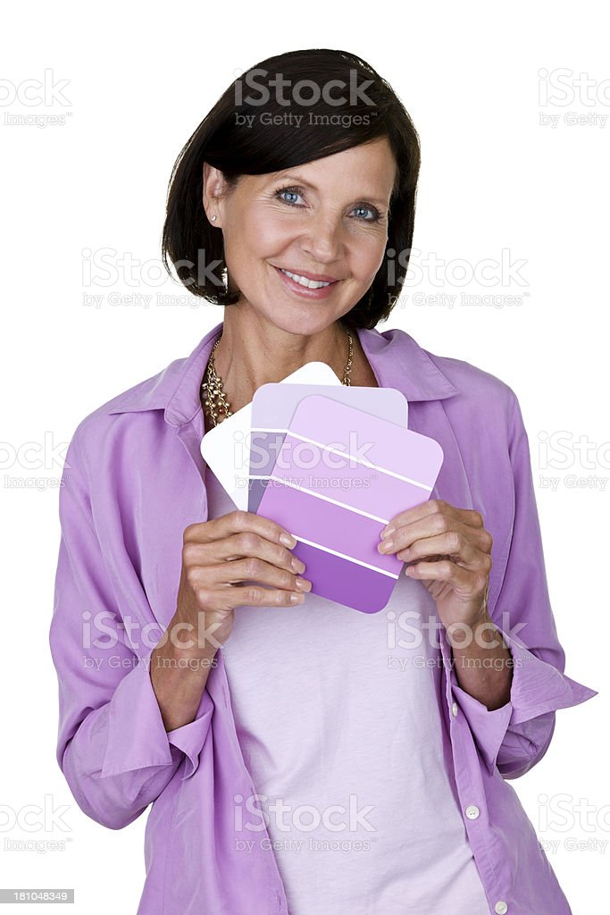 Woman holding color cards royalty-free stock photo