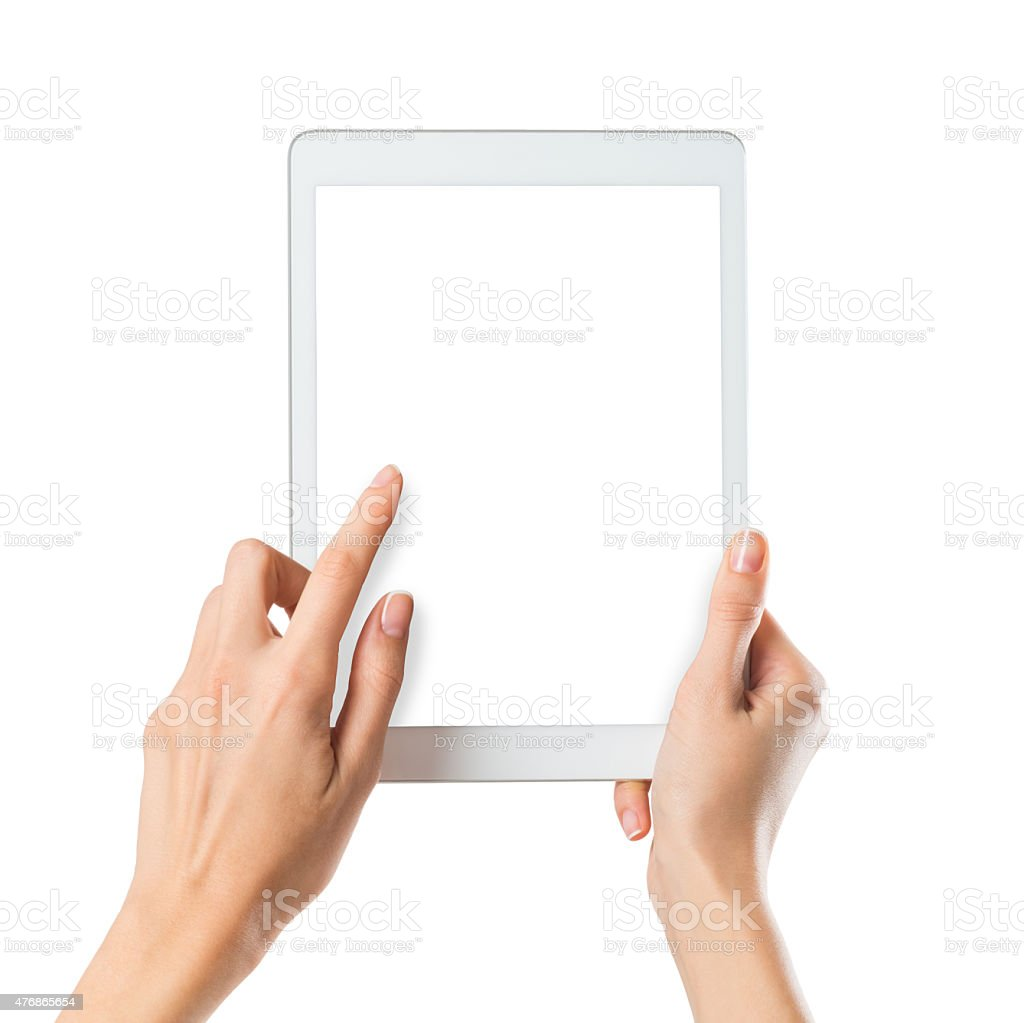 Woman holding digital tablet stock photo