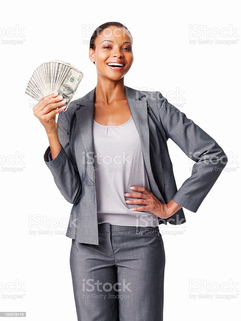 Woman Holding Dollars - Isolated royalty-free stock photo