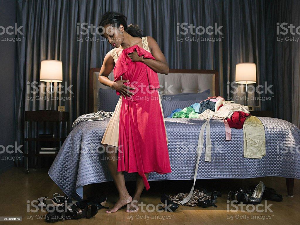 Woman holding dress 免版稅 stock photo