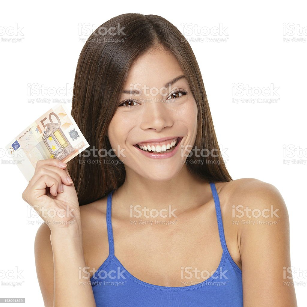 Woman holding euro money note stock photo