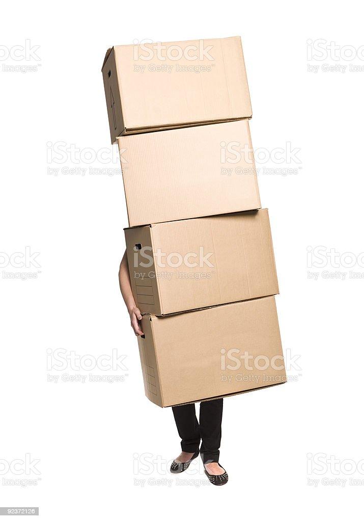 Frau mit vier Boxen Lizenzfreies stock-foto