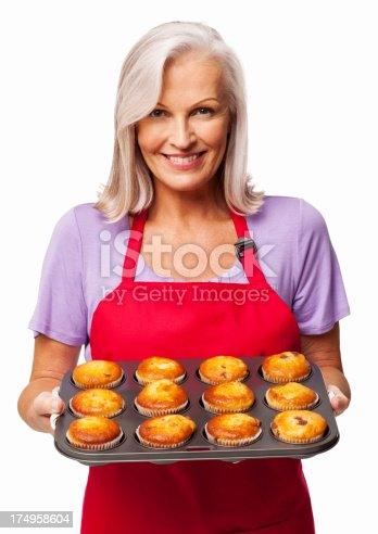 istock Woman Holding Freshly Baked Cupcakes - Isolated 174958604