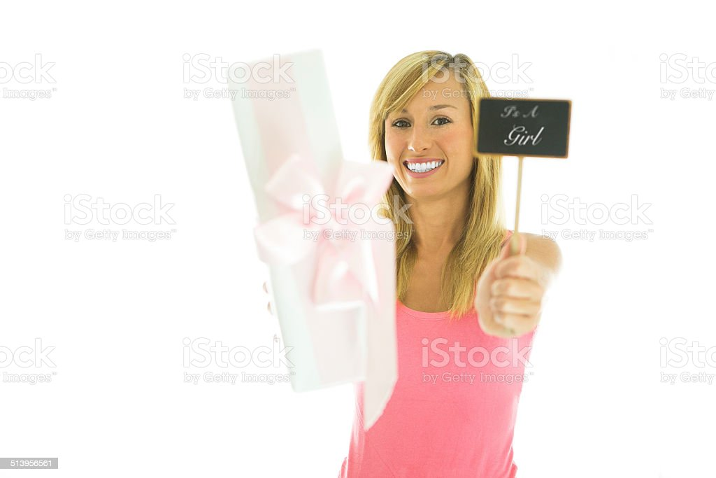 Woman holding gift and it's a girl blackboard stock photo