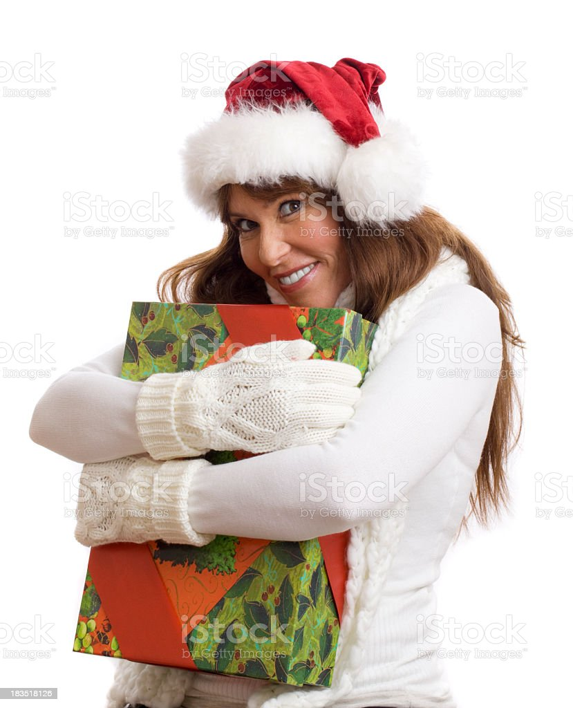 woman holding gift royalty-free stock photo