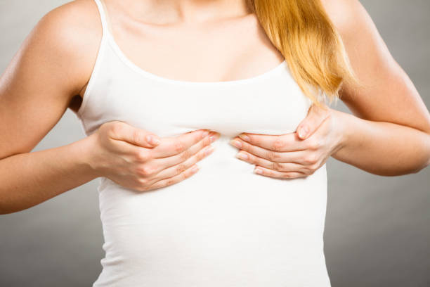 woman holding hands on her breast - midsection stock pictures, royalty-free photos & images
