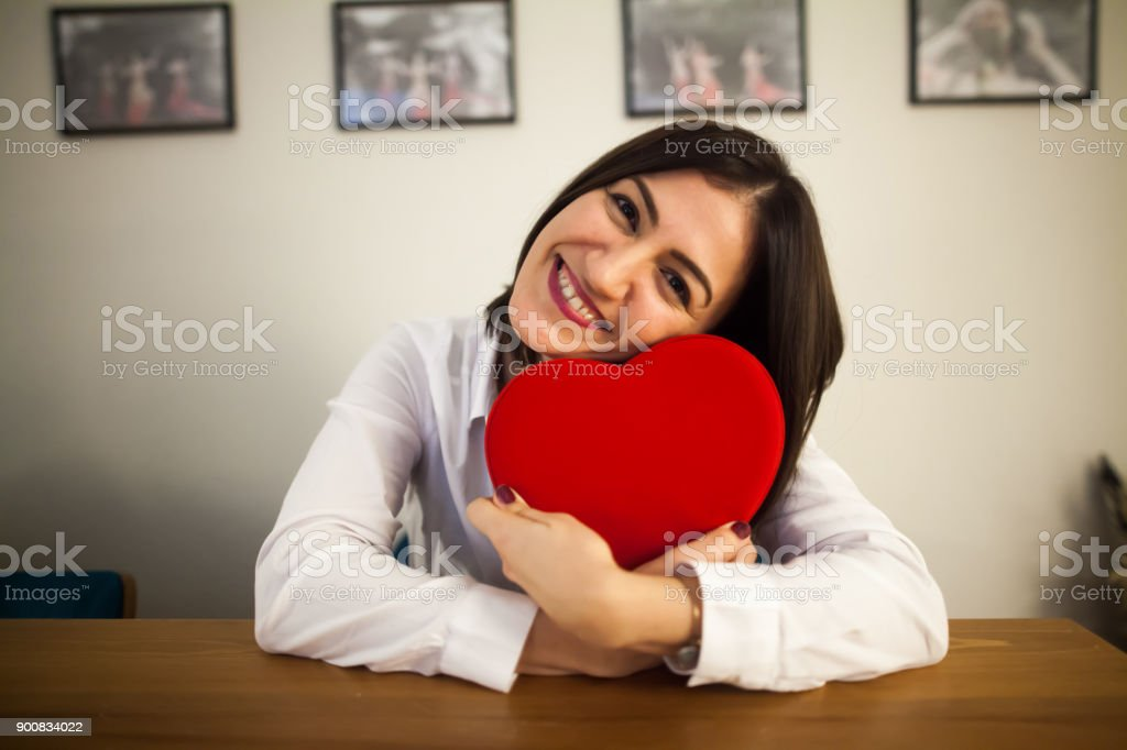 Woman Holding Heart Shaped Gift Box On Valentines Day Stock