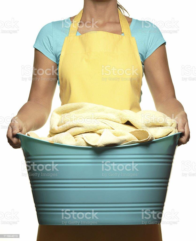Woman Holding Laundry Basket Isolated on White Background royalty-free stock photo