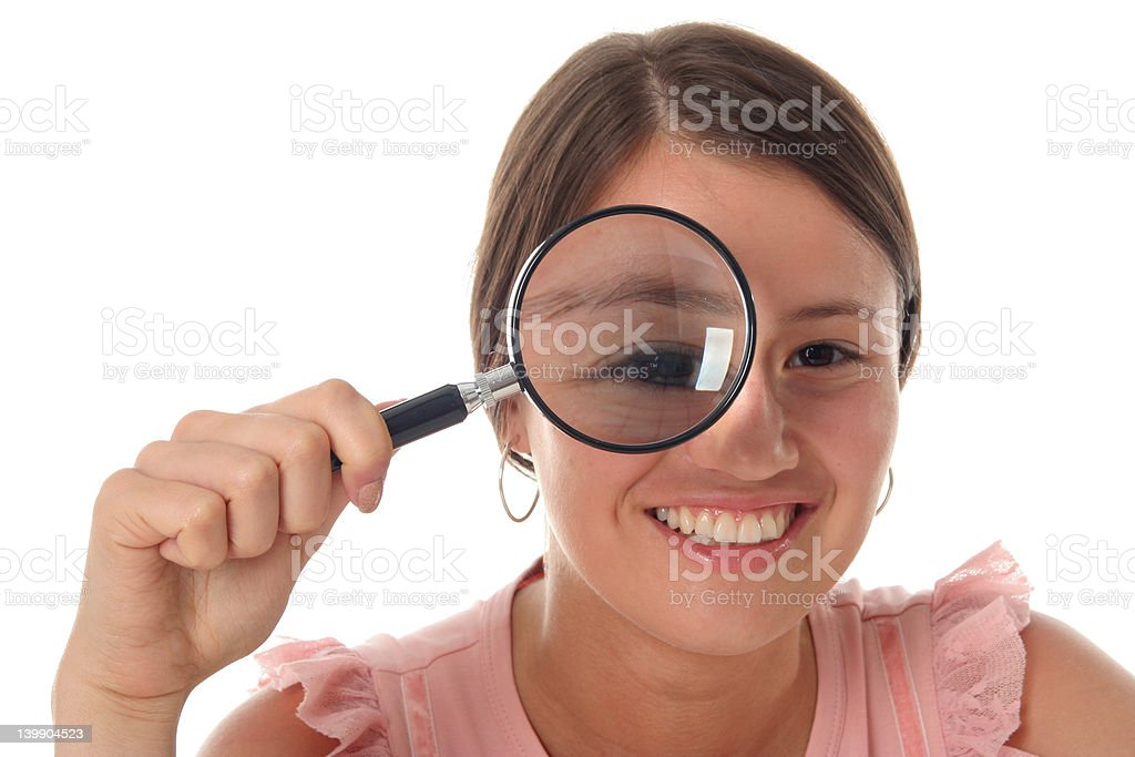 Woman Holding Magnifying Glass royalty-free stock photo