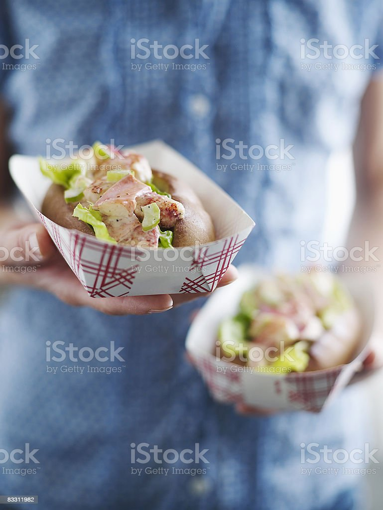 Woman Holding Maine Lobster Roll royalty-free stock photo