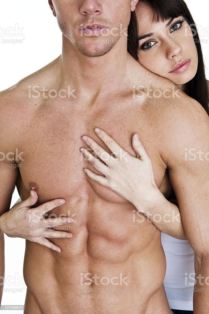 woman holding man