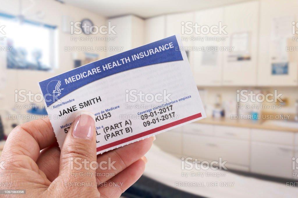 The Sea Ranch, California - October 19, 2018: Woman holding medicare...