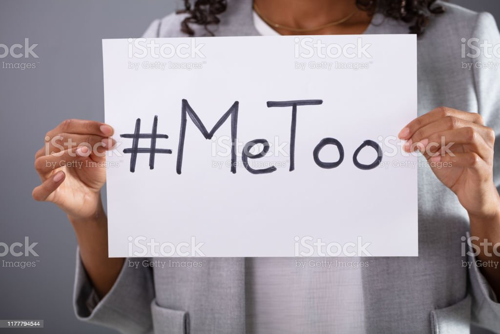 Woman Holding MeToo Hashtag Woman Holding Paper Sheet With Written MeToo Hashtag Abuse Stock Photo