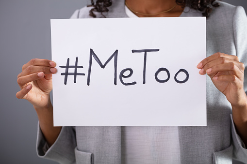 Woman Holding Metoo Hashtag Stock Photo - Download Image Now