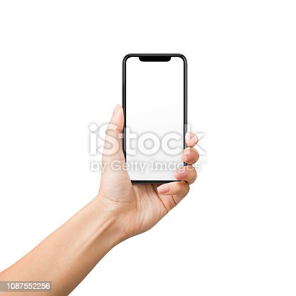 1084491176 istock photo Woman holding mobile phone with blank screen on white background 1087552256