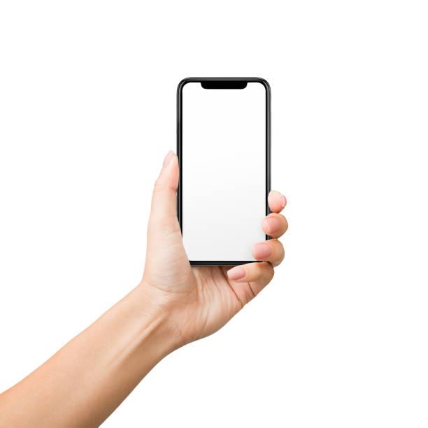 拿著手機的婦女與空白螢幕在白色背景 - 女性 個照片及圖片檔