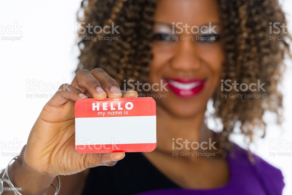 Woman Holding Nametag royalty-free stock photo