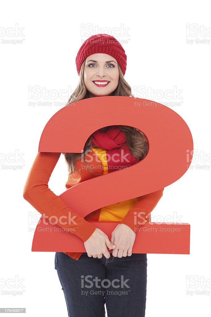 Woman holding number 2. royalty-free stock photo