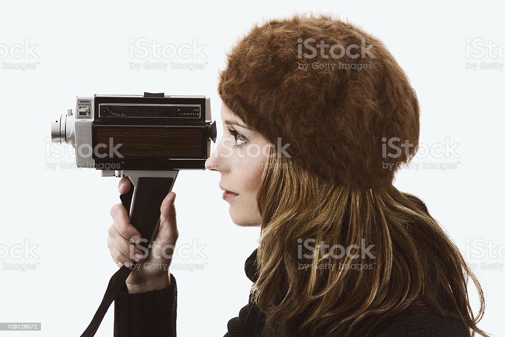 Woman Holding Old Video Camera royalty-free stock photo