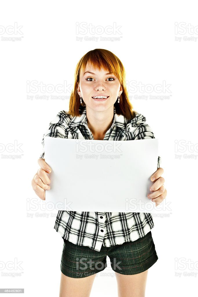 woman holding paper royalty-free stock photo