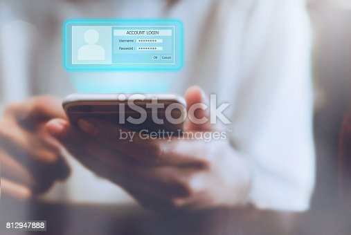 istock Woman holding phone in hand show screen lock safety wherever you work. 812947888