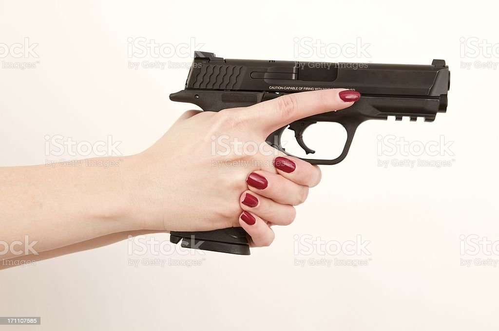 Fotografía de Mujer Agarrando Pistola De Retención A La Salida De ...