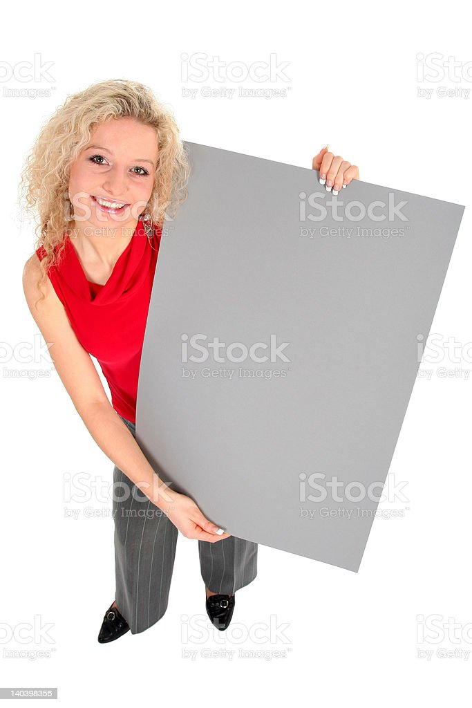 Woman holding poster board royalty-free stock photo