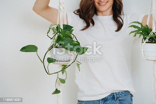 Young smiling brunette holding pots with plans by a macrame pot-holders over white wall. Cropped. Half head. Half length.