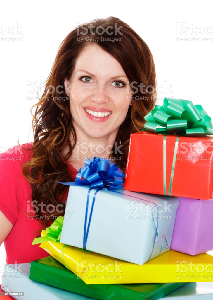 Woman Holding Presents royalty-free stock photo