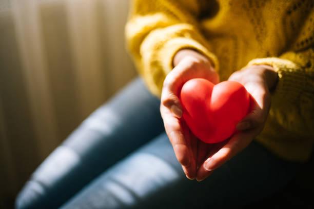 kvinna som innehar rött hjärta - ge bildbanksfoton och bilder
