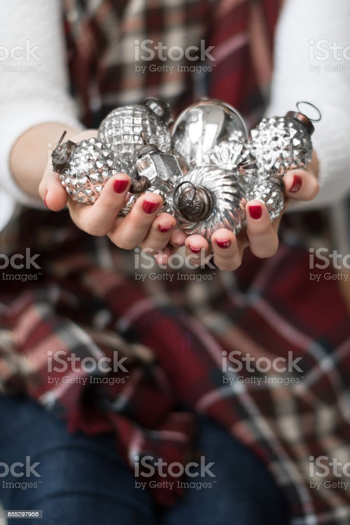 woman holding rustic authentic vintage glass holiday christmas...